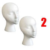Dummy Model Heads, Transer® 2PCS Styrofoam Foam Mannequin Female Head Model Wig Glasses Hat Display Stand Dummy Heads