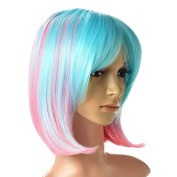 AGPtek Multi-Colour Ombre Short Bob Wig, Shoulder Length Women's Cosplay Party Halloween Costume Soft Synthetic Lace Full Wig with Free Stretchable Hairnet