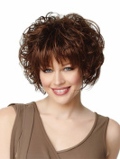 Women Lady Short Curly Hair Wig Tonake . Dark Reddish Brown Hair Bangs Heat Resistant Wigs