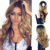 Royalvirgin Ombre Colour 1B/Blonde Long Curly Wig Heat Resistant Synthetic Cosplay Wig Full Wig for Women Party Wigs