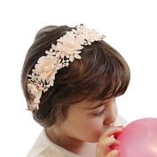 Stofirst Children Girls Cute Stylish Beaded Faux Pearl Headband Headwear Flower Hairband Headdress Hair Accessory with Lace Ribbon