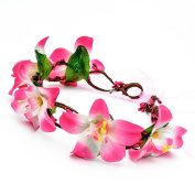 Stofirst Women Girls Handmade Bohemian Artificial Lily Flower Hair Wreath Garland Chain Crown Wedding Party Travel Holiday Headband Hair Accessories with Satin Ribbon