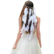 Stofirst New Fashion Women Girls Handmade Bohemian Pure Feather Tassel Headband Headwear Bridal Wedding Party Festival Headpieces Hair Accessories