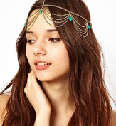 Aukmla Crown Head Chain Headpiece Women Ladies Fashion Gothic Headdress Headwrap Hair Chain Jewellery Bohemia