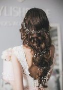 Aukmla Hair Accessories for Bridesmaid and Flowergirls Wedding Beauty Charming Bridal Long Shiny Crystal Hair Vine