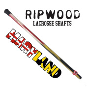 """RipWood """"Maryland Flag"""" Wood Lacrosse Shaft - Black, Gold, Red and White Solid Ash Attack Lacrosse Shaft / Stick (made by hand in the USA) with Jimalax End Cap"""