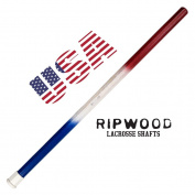 """RipWood """"USA"""" Wood Lacrosse Shaft - Red, White & Blue Solid Wood (Ash) Attack Lacrosse Shaft / Stick (made by hand in the USA) with Jimalax End Cap"""