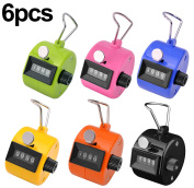 Ktrio Pack of 6 Colour Hand Tally Counter 4 Digit Tally Counter Mechanical Palm Click Counter Count Clicker Assorted Colour Hand Held Counter Clicker for Sport Stadium Coach Casino and Other Event