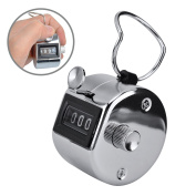 Ktrio 4 Digit Number Tally Counter Lap Counter Hand Tally Counter Clicker Silver Handheld Tally Counter Digit Tally Counter Metal Mechanical Counter Hand Held Clicker to 9999
