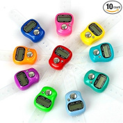Krismile®10 Pcs Case Resettable 5 Digit LCD Electronic Finger Counter Hand Tally , Random colour
