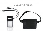 2 Waterproof CellPhone Dry Bag Case & 1 Waterproof Pouch Dry Bag Case Waist Strap with Waist/Shoulder Strap Pack Perfect for Beach /Swimming /Boating - Protect Phone, Camera, Passport, Cards From Water, Sand, Dust