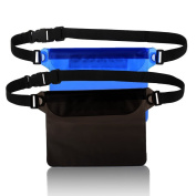 [2 Pack] Waterproof Pouch Case Bag with Adjustable Waist Strap - Perfect for Beach Swimming Boating Snorkelling Kayaking Fishing