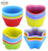Joyoldelf 32 Pcs Silicone Baking Muffin Cups, Reusable & Non Stick Cupcake Cup Baking Mould – Perfect for Snacks, Muffin, Jelly, Pudding, Ice Cream and Chocolate Dessert