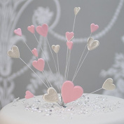 Hearts Cake Topper Decoration / Spray In Pearl White & Pink