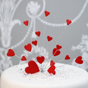 Hearts Cake Topper Decoration / Spray In Red
