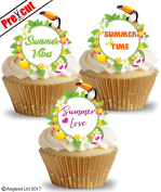 PRE-CUT SUMMER TIME LOVE VIBES EDIBLE RICE / WAFER PAPER CUPCAKE CAKE DESSERT TOPPERS SUMMER BEACH PARTY HOLIDAY DECORATIONS