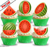 PRE-CUT WATERMELON EDIBLE RICE / WAFER PAPER CUPCAKE CAKE DESSERT TOPPERS BIRTHDAY SUMMER TEA PARTY DECORATIONS