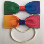 Handmade Double Sided Rainbow Grosgrain Ombre Style Ponio Hairbows Bang on Trend