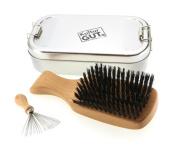Exclusive mens brush made of pearwood with wild boar bristles, including comb cleaner with metal bristles in functional metal box, metal box with hinged lid.