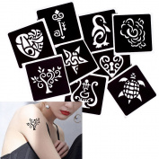 9 Sheets Life of Tree Heart Pattern Small Henna Tattoo Stencil DIY Drawing Body Paint Temporary