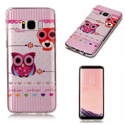 For Galaxy S8 Case,by Vandot Accessories [Slim & Lightweight] Cute Colourful Animal Owls Pattern [Soft Flexible] TPU Gel Protective Transparent Clear Back Cover - Exact Fit for Samsung Galaxy S8 G9500
