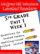 Wonders Leveled Reader Lesson Cards, Grade K