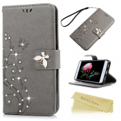 Mavis's Diary P8 Lite 2017 Case ,Huawei P8 Lite Bling Flip Case 2017 Model - Glitter Gems Diamonds Crystal Butterfly Wallet PU Leather Flip Cover [Chic Flower Embossed] Silicone Back Holder Case Magnetic Closure Card Slots & Stand & Wrist Strap - Grey ..