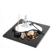 Zen Garden Buddha Yoga Lady Ornament Statue Natural Stone Sand Rattan Incense wooden Rake Gift Set