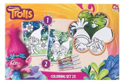 Dreamworks Trolls Pack of 2 Canvas Colouring Set With 4 Pens - Trolls Arts and Crafts- Childrens Colouring Sets