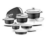 LUXURY KITCHEN COOKWARE . 25 PIECES. FINISHED BLACK colour