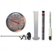 Home Brew Hydrometer and 300mm Brewing Dial Thermometer and 100ml Trial Jar - Homebrew Equipment Pack