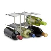 Relaxdays Stainless Steel Wine Rack for 9 Bottles, Modern Metal Design, Standing Bottle Holder, HxWxD