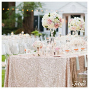 TRLYC 150cm x 260cm Christmas Champagne Sequin Table Cloth For Wedding/Party