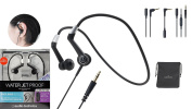 audio-technica ATH-CP700 BK Sports Waterproof Neckband Headphone/Headset with Extension cord, inline mic for calls & carrying pouch
