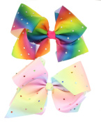2pcs Girls Multi Coloured Diamante Big Fashion Hair Bow Dance School Accessory