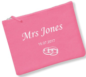 Personalised New Bride/Wedding Ring/Mrs Accessory/Pencil Case/Make Up Bag In 3 Sizes *PINK/BLACK/NATURAL* By Mayzie Designs® (L