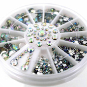 Phantomsky 3D Nail Art Acrylic Rhinestone Wheel - Glitter Stone - Professional Art Decorations Mix Design Nail Decor Accessories