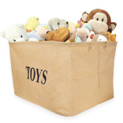 "Tougo Large Size 43cm Jute ""TOY"" Storage Basket Bin Chest Organiser Perfect for Toy Storage,Storage Basket for organising Baby Toys, Kids Toys, Baby Clothing, Children Books, Gift Baskets"