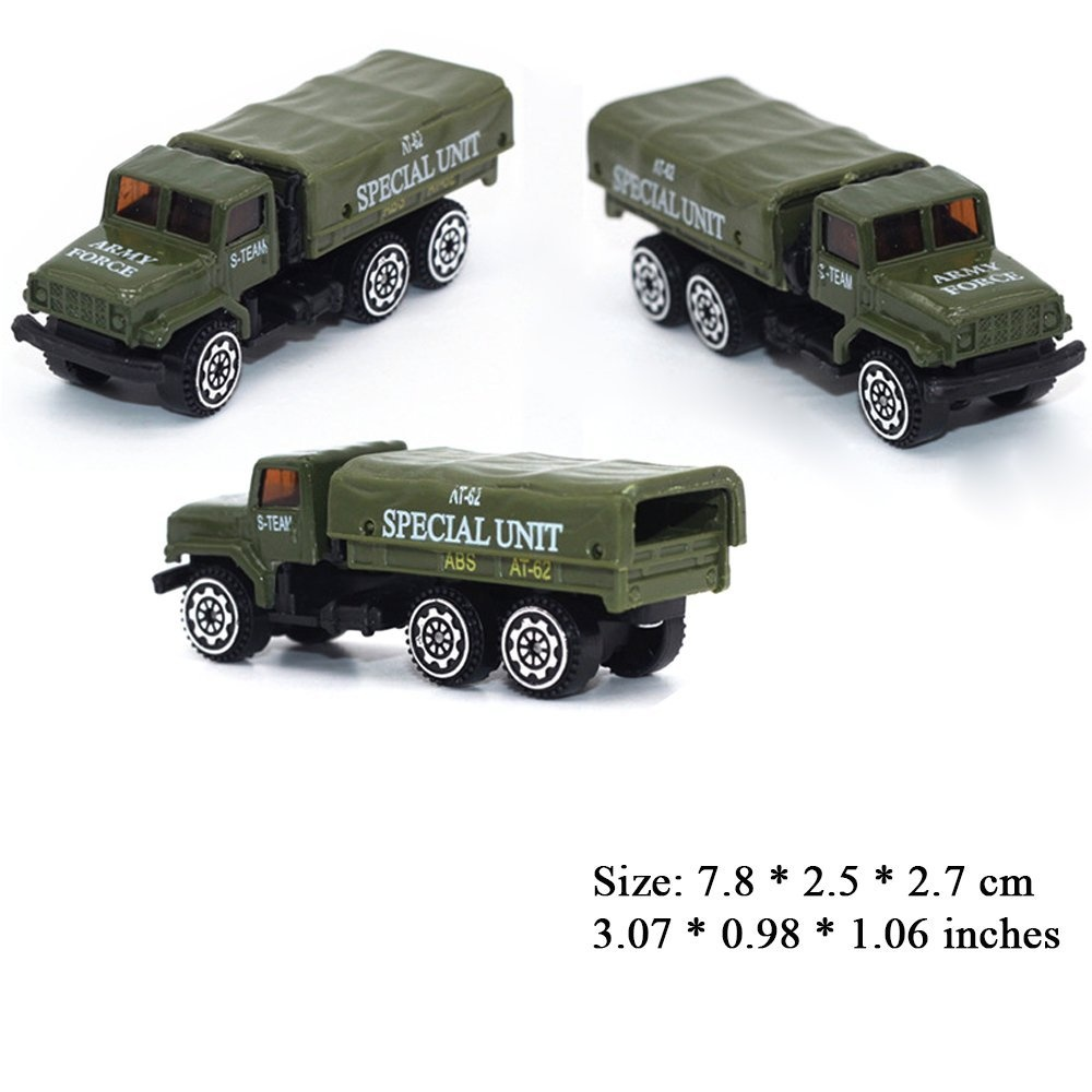 (Army) - Deardeer 5 Cars in 1 Set Die-cast Metal Playset Toy Vehicle Alloy  Car Models Toy Military Helicopter Tank Jeep Truck Armoured Car