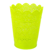 Cdet Flower Pot Green Lace Hollow Vase Plastic Box Mini Makeup Organiser Container Desktop Trash Can