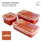 Valira Nomad - Set of 3 Food Carrier Containers 100% Airtight Made of High Quality Ceramic Plastic, Spare Parts Nomad Collection, Measure 0.75L + 0.5L + 0.4L, Orange Colour