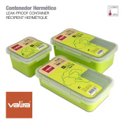 Valira Nomad - Set of 3 Food Carrier Containers 100% Airtight Made of High Quality Ceramic Plastic, Spare Parts Nomad Collection, Measure 0.75L + 0.5L + 0.4L, Green Colour