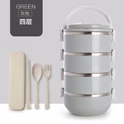 Luckyfree Stainless steel boxes adult students Picnic bento box hand, grey 4 layer