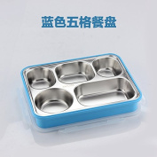 Heat preservation lunch Box sealed rectangular 304 stainless steel large capacity bento boxes student Lunch Box,Blue B
