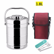 Luckyfree Stainless Steel Vacuum Warm Lunch Boxes Adult Students Bento Boxes Double H