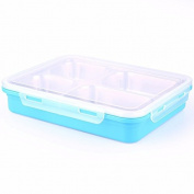 Luckyfree Lunch Box 304 Stainless Steel Square 4 Students Picnic Bento Box, Blue