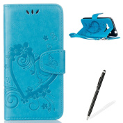 Feeltech Samsung Galaxy J3/J310 Flip case, Luxury Embossed Heart Butterfly Series Design Pattern Premium Ultra Slim PU Leather Wallet Cover [With Free Stylus Pen] Magnetic Clasp Closure Soft TPU Inner Bumper Built-in Foldable Stand Function Pocket Card ..