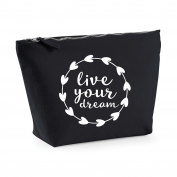 Live Your Dream Statement Make Up Bag - Cosmetic Canvas Case