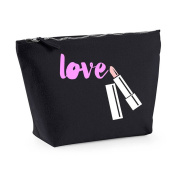 'Love' Lipstick Message Any Message Any Colour Cute Statement Make Up Bag - Cosmetic Canvas Case - Black, Small