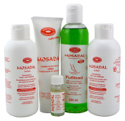 Happy Feet Mosadal Cosmetic Hand and Foot Care Set 5 in 1 Professional Callus Removal. Comprises 1x Nagelpflegeöl 10 ml, 2x Mosadal Lotion 250ml, 1x Mosadal Hydratante Urea Cream 100ml and 1X Mosadal Foot Bath 250 ml